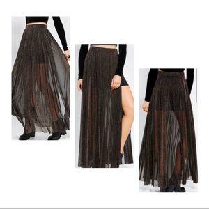 Black & Gold Glitter Maxi Skirt